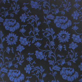 Black on Navy Blue Vine Floral Pocket Square