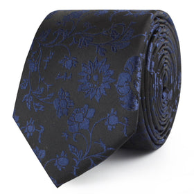 Black on Navy Blue Vine Floral Skinny Tie
