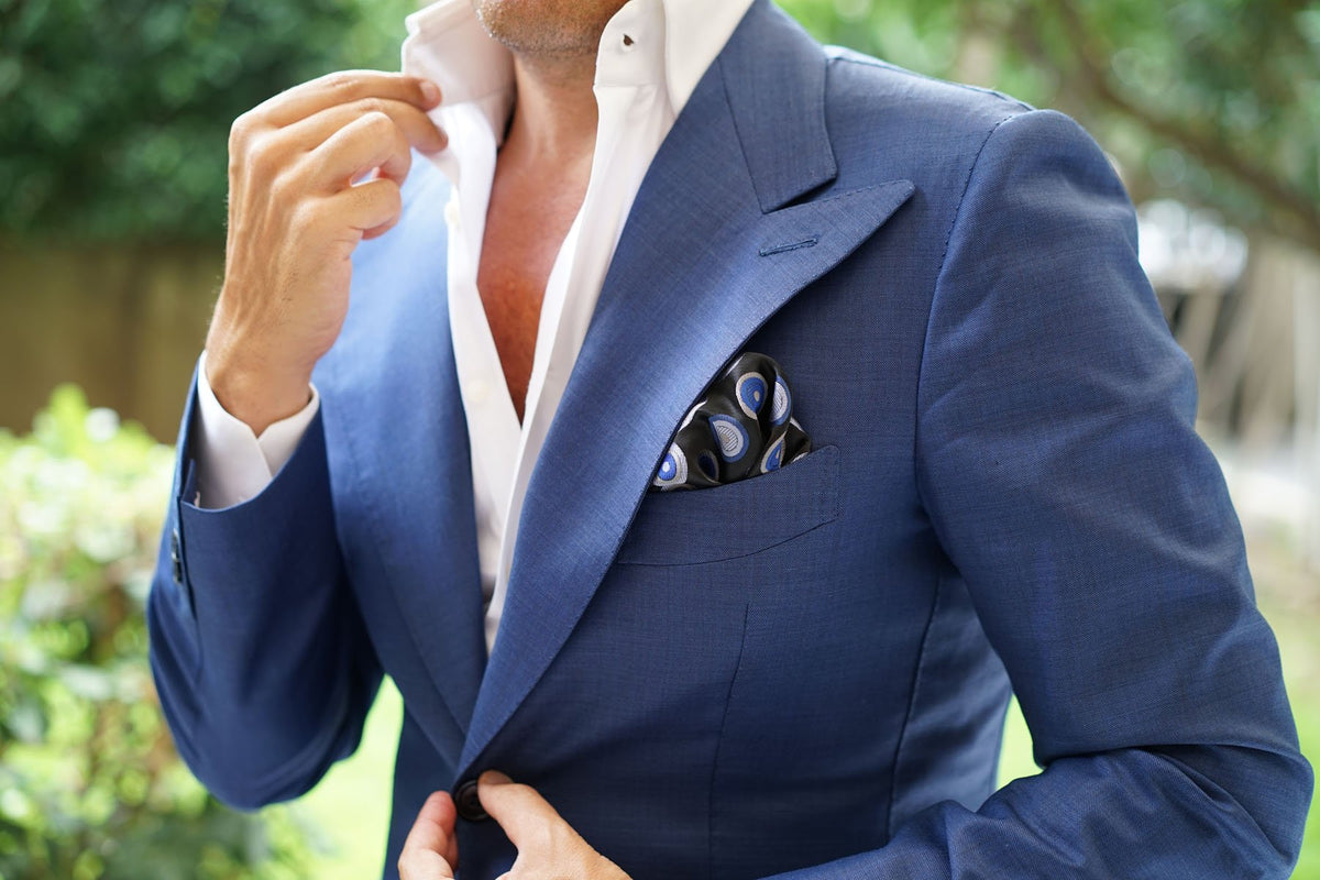 Black with Blue Circle - Pocket Square