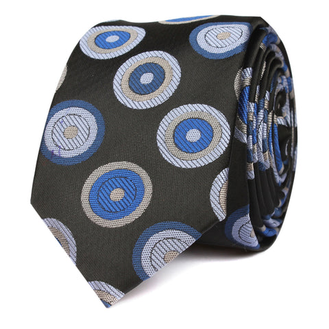 Black with Blue Circle - Skinny Tie