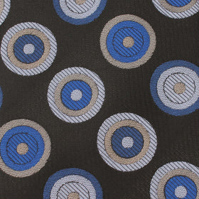 Black with Blue Circle Pocket Square
