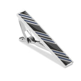 Black with Blue Stripes Tie Bar