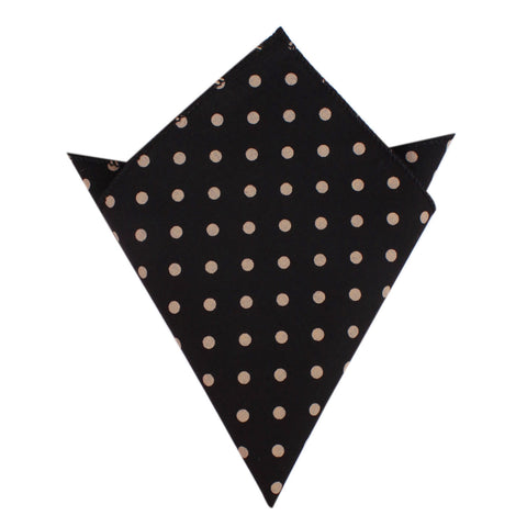 Black with Brown Polka Dots Pocket Square