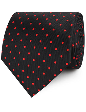Black with Red Polka Dots Necktie