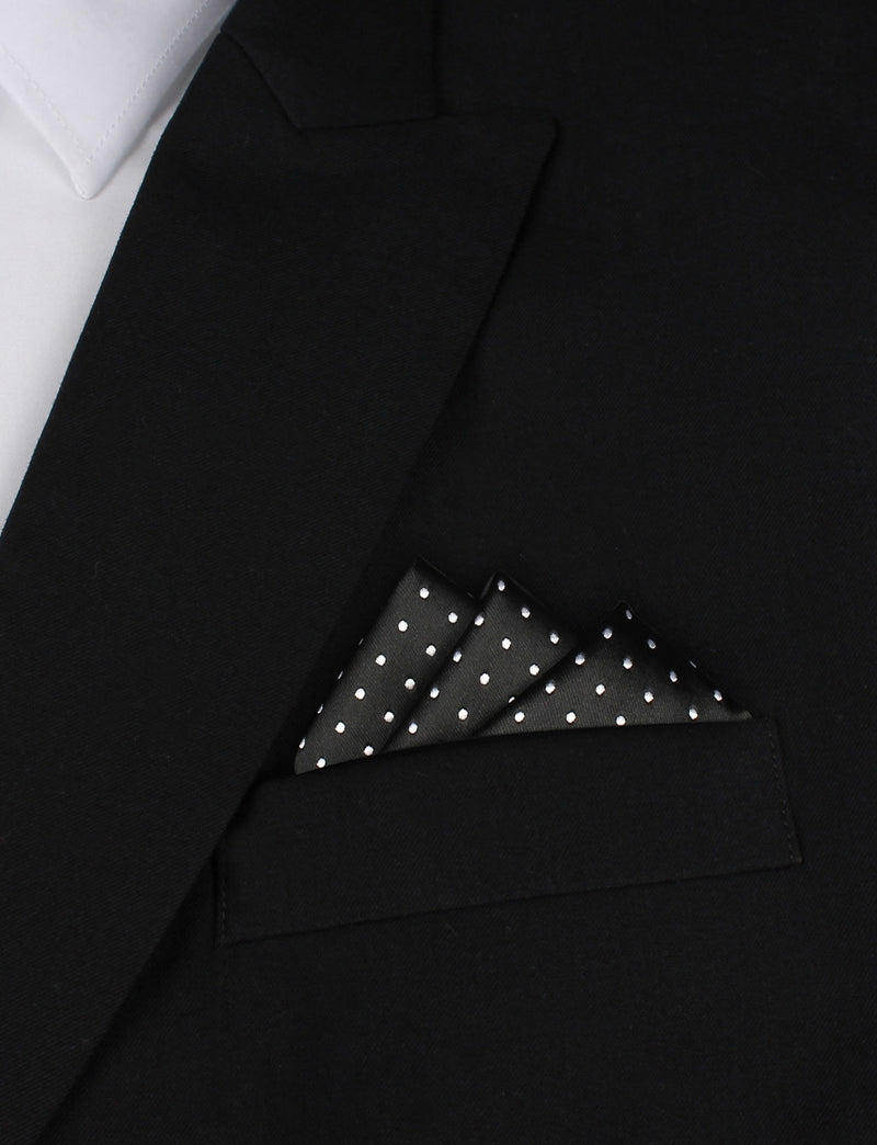 4a7a171dbb1a ... Black with Small White Polka Dots - Oxygen Three Point Pocket Square  Fold ...