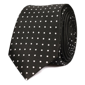 Black with Small White Polka Dots Skinny Tie