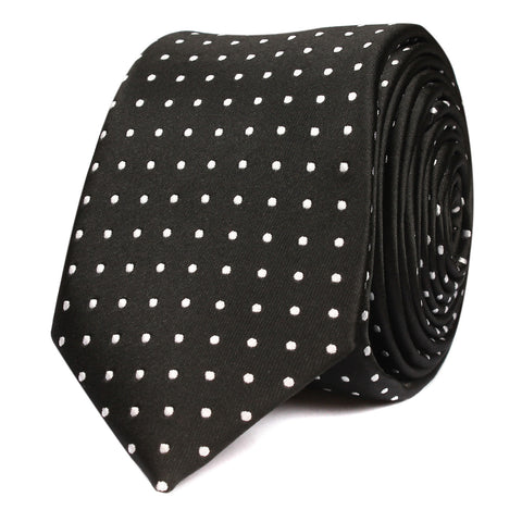 Black with Small White Polka Dots - Skinny Tie
