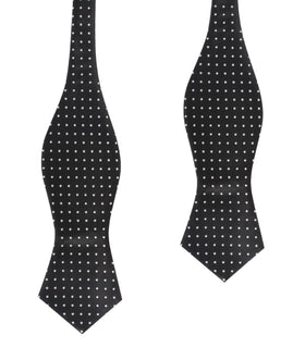 Black with Small White Polka Dots Self Tie Diamond Tip Bow Tie