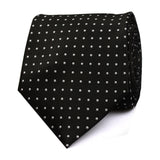 Black with Small White Polka Dots Tie Front View