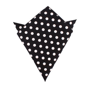 Black with White Large Polka Dots Cotton Pocket Square