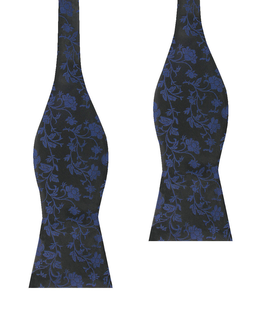 Black on Navy Blue Vine Floral Self Bow Tie