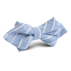 Blue Barney Pin Stripe Linen Diamond Bow Tie