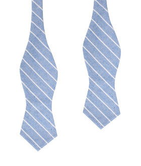 Blue Barney Pin Stripe Linen Diamond Self Bow Tie