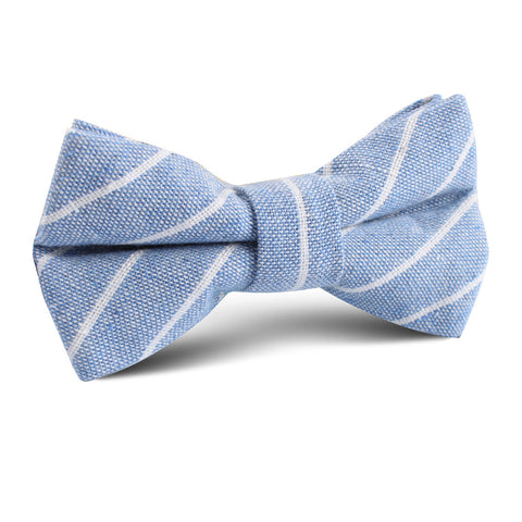 Blue Barney Pin Stripe Linen Kids Bow Tie