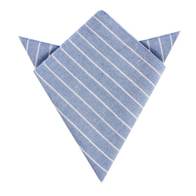Blue Barney Pin Stripe Linen Pocket Square