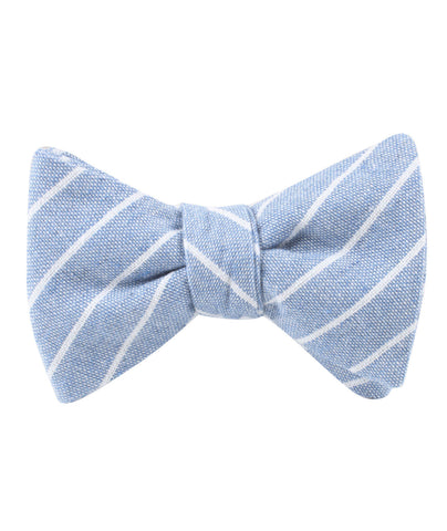 Blue Barney Pin Stripe Linen Self Bow Tie