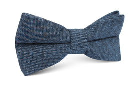 Blue & Black Textured Linen Blend Bow Tie