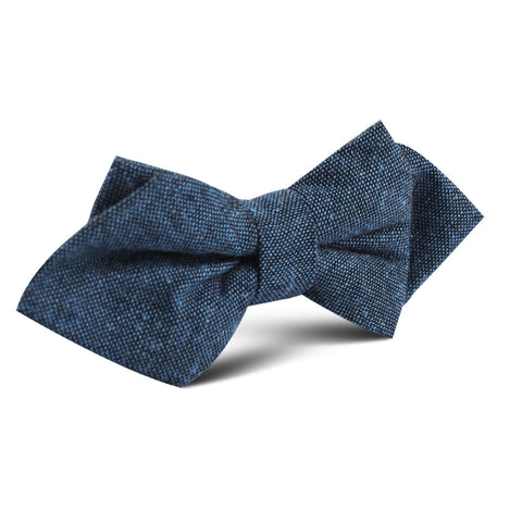 Blue & Black Textured Linen Blend Diamond Bow Tie