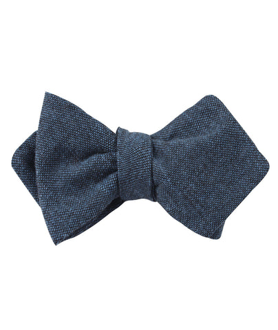 Blue & Black Textured Linen Blend Diamond Self Bow Tie