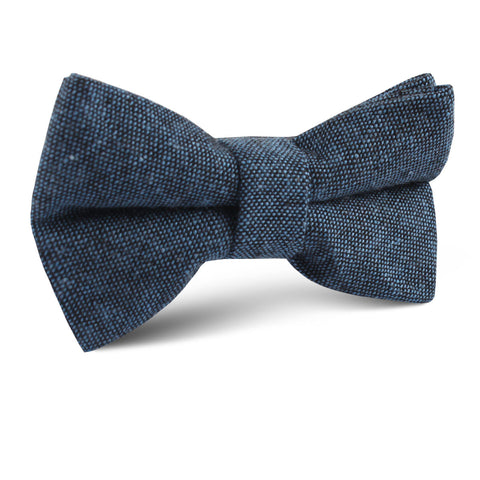 Blue & Black Textured Linen Blend Kids Bow Tie