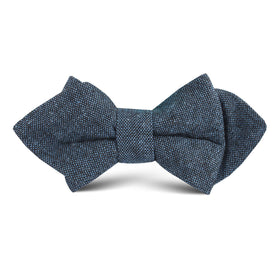 Blue & Black Textured Linen Blend Kids Diamond Bow Tie