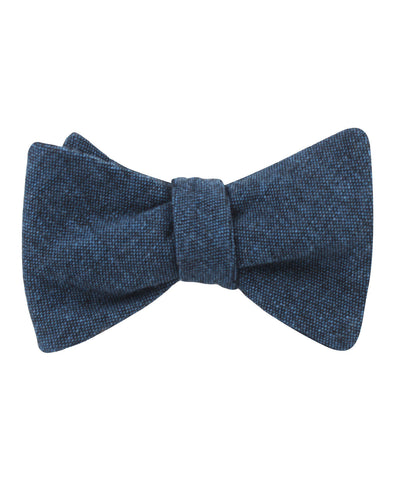 Blue & Black Textured Linen Blend Self Bow Tie