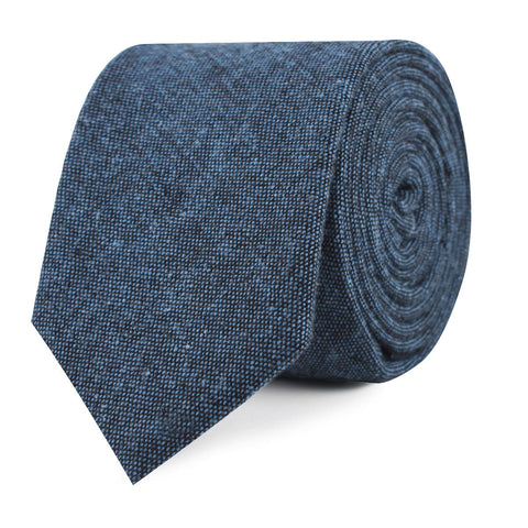 Blue & Black Textured Linen Blend Skinny Tie