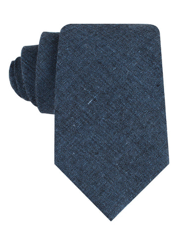 Blue & Black Textured Linen Blend Tie