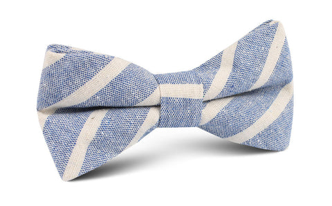 Blue Bodrum Linen Chalk Stripe Bow Tie