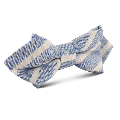 Blue Bodrum Linen Chalk Stripe Diamond Bow Tie