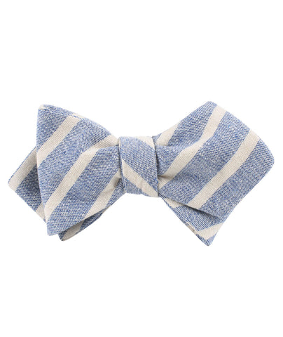 Blue Bodrum Linen Chalk Stripe Diamond Self Bow Tie