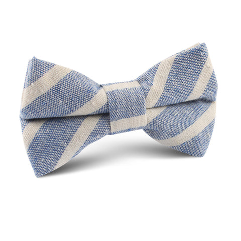 Blue Bodrum Linen Chalk Stripe Kids Bow Tie