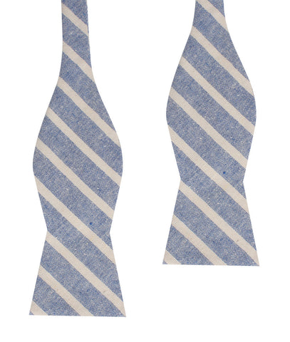 Blue Bodrum Linen Chalk Stripe Self Bow Tie