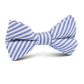Blue Chalk Stripes Cotton Kids Bow Tie