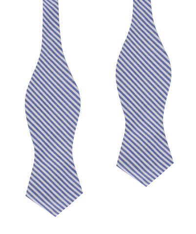 Blue Chalk Stripes Cotton Self Tie Diamond Bow Tie