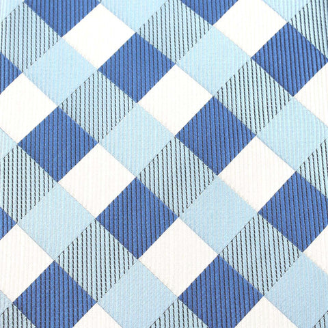 Sea and Light Blue White Checkered - Bow Tie