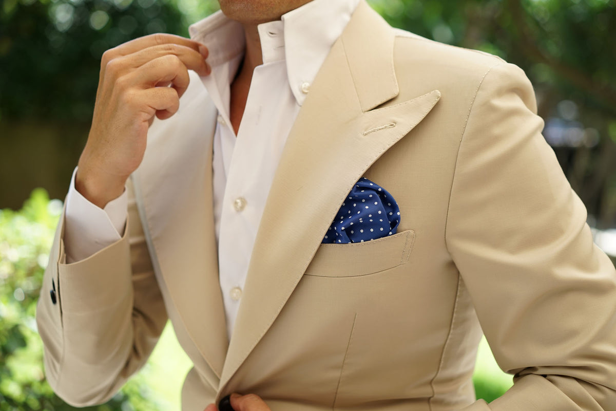 Blue Cotton with Mini White Polka Dots Pocket Square
