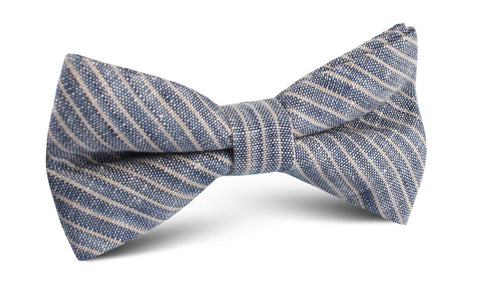 Blue Dry Cold Linen Pinstripe Bow Tie