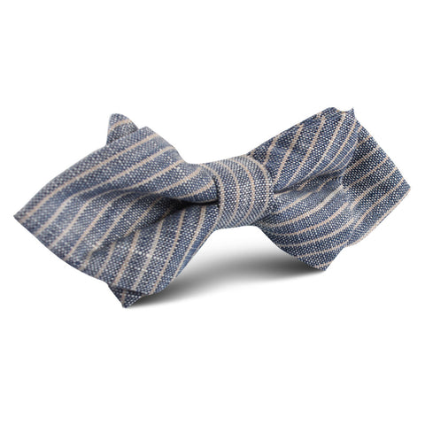 Blue Dry Cold Linen Pinstripe Diamond Bow Tie