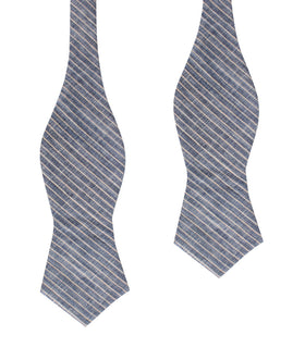 Blue Dry Cold Linen Pinstripe Diamond Self Bow Tie
