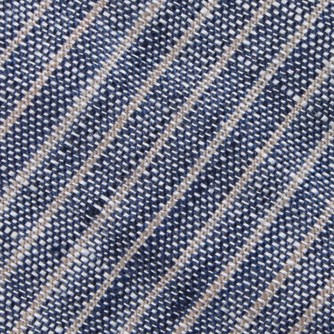 Blue Dry Cold Linen Pinstripe Pocket Square