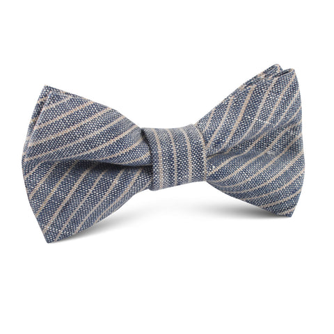 Blue Dry Cold Linen Pinstripe Kids Bow Tie
