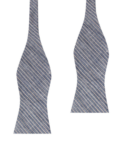 Blue Dry Cold Linen Pinstripe Self Bow Tie