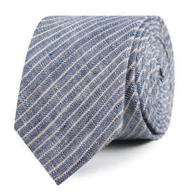 Blue Dry Cold Linen Pinstripe Skinny Tie