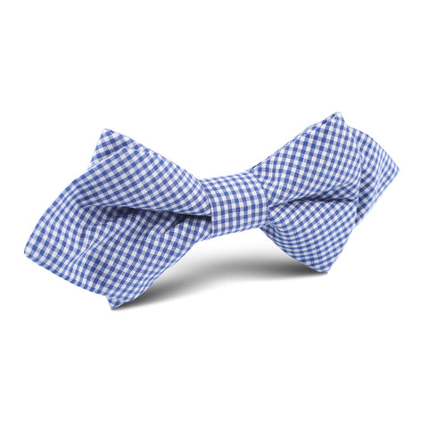 Blue Gingham Cotton Diamond Bow Tie