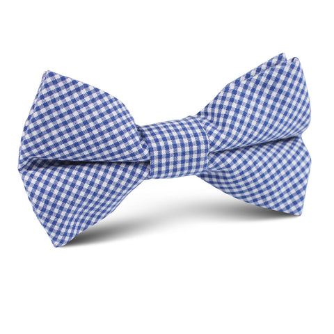 Blue Gingham Cotton Kids Bow Tie