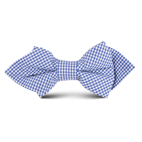 Blue Gingham Cotton Kids Diamond Bow Tie