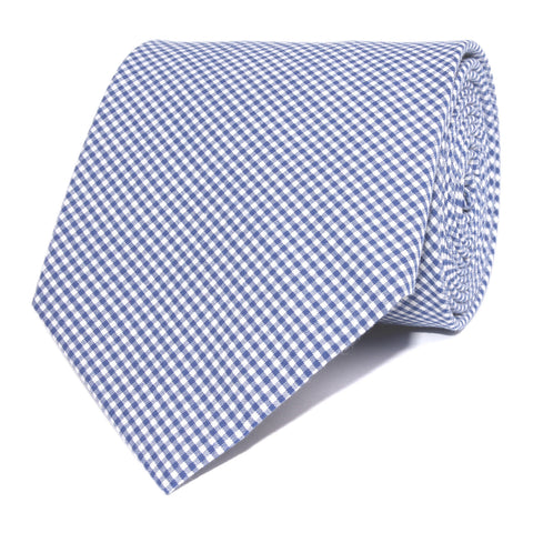 Blue Gingham Cotton Necktie