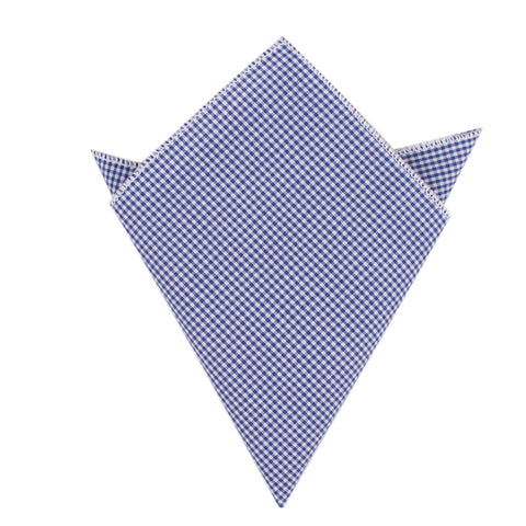 Blue Gingham Cotton Pocket Square