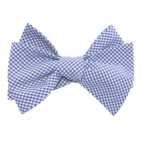 Blue Gingham Cotton Self Tie Bow Tie